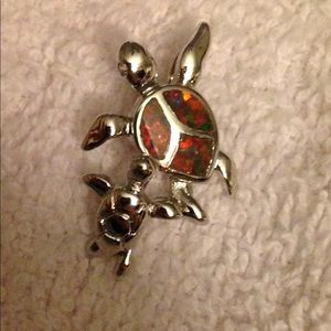 Fire Opal Sea Turtle Pendant